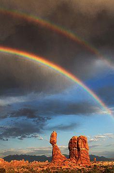 Double rainbow over 'Balance Rock', Arches National Park - Utah