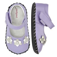 2392: Originals Salome Lavender - A lavender backdrop for sparkling silver & white flowers create the perfect soft sole shoe for your beginner walker!