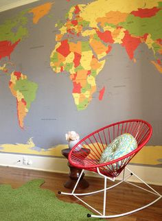 World Map Mural for nursery/kids' room - could be a fun travel theme.