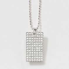 "Pave Tag Necklace $55.00 Hot! Crystal pavé tag; rhodium plating; 16"" to 19"".  At checkout please put Alison Manaher as your Hostess!"