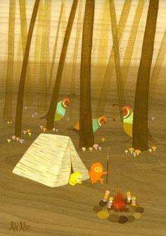 Aaron Piland and Ayumi Kajikawa Piland are the fantastical magical duo known as APAK--shroom camp print