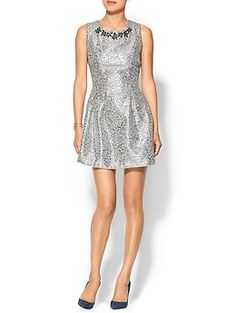 Metallic fit n flare dress with embellished neckline Pewter/silver perfect for holiday parties!  JOA Embellished Metallic Dress | Piperlime