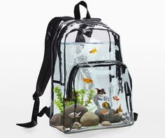 """archiemcphee: """"Last month we featured purses shaped like fancy goldfish. Today let's check out a backpack that functions as a fish tank! The Backpack Aquarium is a clear """"self-cleaning"""" backpack that contains goldfish, rocks, snails, and plants. Aquarium Design, Home Aquarium, Nature Aquarium, Betta Aquarium, Fish Aquariums, Tanked Aquariums, Aquarium Original, Conception Aquarium, Cool Fish Tanks"""