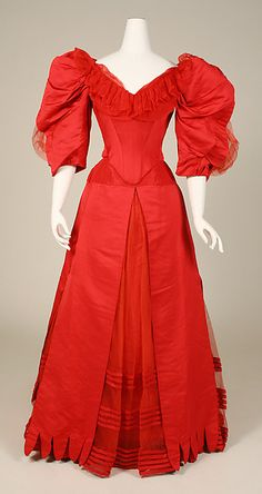 Edwardian - Ball gown House of Worth  (French, 1858–1956) Date: ca. 1896 Culture: French Medium: silk Dimensions: Length at CB (a): 15 1/2 in. (39.4 cm) Length at CB (b): 48 1/2 in. (123.2 cm) Credit Line: Gift of Mrs. Geoffrey Williams Chapman, 1982