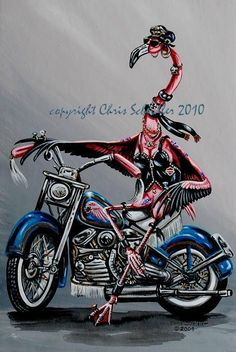Biker Babe limited edition print via Etsy
