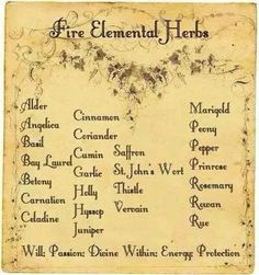 Fire Elemental Herbs - Pinned by The Mystic's Emporium on Etsy