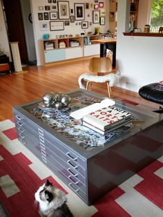 Flat File Coffee Table. This would be great to hold all my art papers! I love the industrial look :)