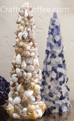 Perfect for a coastal theme room! DIY your own Seashell and Sea Glass Mosaic Topiary Cones.