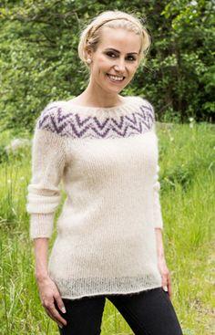 Strikkeopskrift på silkeblød sweater i mohair   Skøn strik i fnuglet mohair   Strik med mønsterbort  Fin kombination af teknik og farve     Håndarbejde