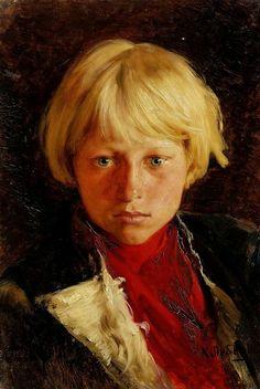 Lebedev, Klavdiy Vasilievich Portrat eines Jungen mit Blondem Haar um 1900