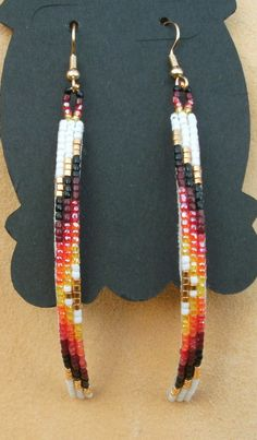Native American Long Curved Beaded Earrings in White and Gold