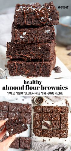 These Paleo Brownies are rich, chocolatey, fudgy & so easy to make in one bowl. Made with wholesome & simple pantry ingredients without flour or butter. Easy No Bake Desserts, Köstliche Desserts, Healthy Dessert Recipes, Gluten Free Desserts, Baking Recipes, Delicious Desserts, Vegan Recipes, Bar Recipes, Paleo Dessert