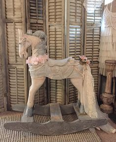 Rocking Carousel Horse Photography Photo Prop Large Wood Childs Riding Vintage Horse Shabby Chic Primitive French Nordic Decor Farm House