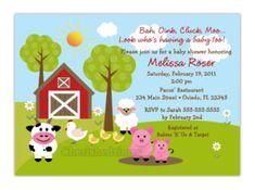 Farm Animal Themed Baby Shower Invitations