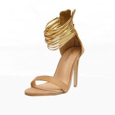 54e239351 Shop Gold Strappy Sandals Women Back Zip Sandals Heels Fashion Summer Shoes  www.essish.