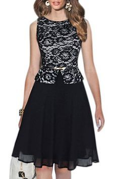 Sophisticated Round Collar Sleeveless Printed Spliced Women's Dress