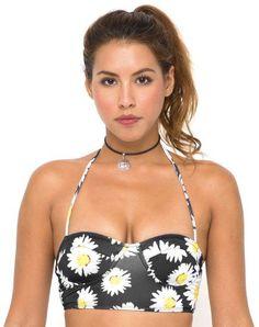 Motel Longline Bikini Top in Wild Daisy