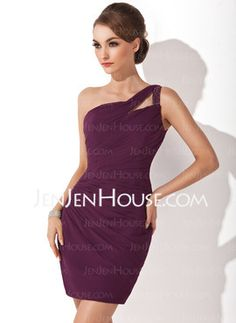Sheath One-Shoulder Short/Mini Chiffon Cocktail Dresses With Ruffle (016008418)