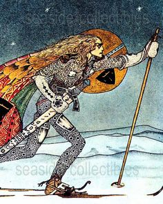 East of the Sun West of the Moon.     Kay Nielsen (Danish-American illustrator). Full Color Museum Book Art Plate. 1970s.  The Three Princesses of Whitland from 1914 by Hodder & Stoughton. Attributes: FIRST EDITION At @seasidecollectibles