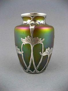 Circa 1900 Loetz Green Gold Iridescence With Silver Overlay Vase