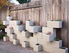 Creative DIY Vertical Gardens For Your Home --> Cinder Block Succulent Outdoor Wall Planter Vertical Garden Planters, Vertical Gardens, Tall Planters, Modern Planters, Concrete Projects, Concrete Blocks, Masonry Blocks, Diy Projects, Diy Concrete