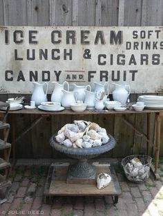 Love the sign and the white pitchers.  Anything with the word *candy* <3