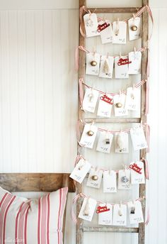Write down 25 fun winter activities on these printable notecards, and tuck them inside matching envelopes—then string 'em up on a vintage ladder with decorative ribbon for a sweet take on an Advent calendar. Get the printable at Ella Claire Inspired. Christmas Card Display, Free Christmas Gifts, Winter Christmas, Christmas Home, Vintage Christmas, Christmas Decorations, Christmas Cards, Holiday Cards, Christmas Printables