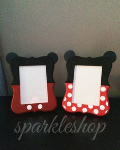 This listing is for ONE 5x7 hand painted red & black Mickey or pink & black Minnie themed picture frame. Perfect for any Mickey themed party