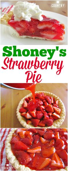 This Copycat Shoney's Strawberry Pie is a spring and summer favorite! It is … This Copycat Shoney's Strawberry Pie is a spring and summer favorite! It is so simple to make and is perfect served with a dollop of fresh whipped cream! Köstliche Desserts, Delicious Desserts, Yummy Food, Frozen Desserts, Dessert Oreo, Summer Dessert Recipes, Strawberry Desserts, Strawberry Summer, Shoney's Strawberry Pie Recipe