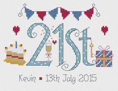 21st Birthday Blue Cross Stitch Kit £18.95 | Past Impressions | Nia