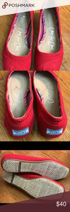 Toms New Red Ballet Flats! Sz 7W! Brand New Toms in a size 7W.   To tight on me.  I needed a 7 1/2W.  Awesome and cute. TOMS Shoes Flats & Loafers