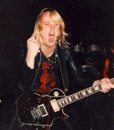 Young Jeff Hanneman in the early days of Slayer with his Kahler tremolo installed on his Gibson Les Paul.