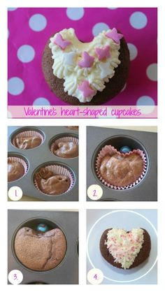 Valentine's Day heart-shaped cupcakes #ValentinesDay