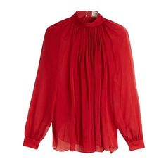 Maison Rabih Kayrouz Gathered silk-mousseline blouse (31,890 INR) ❤ liked on Polyvore featuring tops, blouses, red top, ruched top, loose blouse, red blouse and evening blouses