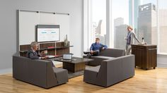 Add modern style to office spaces and collaborative environments with the comfortable and fun Campfire Lounge by turnstone.