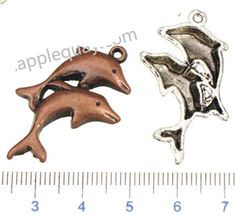 Zinc Alloy Animal Pendants,Two Dolphin Plated,Cadmium And Lead Free,Various Color For Choice,Approx 35*23.5*4mm,Hole:Approx 1.5mm,Sold By Bags,No 001242