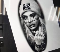 Tattoo photo - Gangsta girl drawing by Anastasia Agapova Gangster Tattoos, Dope Tattoos, Hand Tattoos, Mädchen Tattoo, Clown Tattoo, Large Tattoos, Badass Tattoos, Tattoo Drawings, Body Art Tattoos