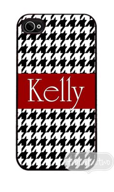 iphone 4 Case Personalized with your Name,  Houndstooth.  Oh I want it.