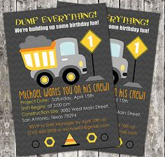 Printable Boy Birthday Party Invitation - Dump Truck Construction - JT's next birthday? Birthday Party Images, 4th Birthday Parties, Birthday Fun, Birthday Party Invitations, Birthday Ideas, Digger Birthday, Digger Party, Birthday Cake, Construction Birthday Parties