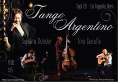 Domingo 20/09/2015. Concierto de tango con Trío Garufa www.triogarufa.com Adrian Jost (bandoneón), Guillermo García (guitarra) y Sascha Jacobsen (contrabajo). La Cappella www.la-cappella.ch Berna, Suiza.