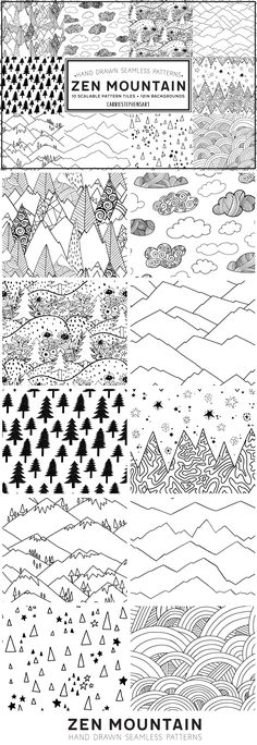 Calling all travellers and nature lovers!  Zen Mountain, Geometric Line Patterns, Black and White Digital Papers + Seamless repeating tiles that allow you to adjust the pattern to any scale or color of your choice! They feature dunes, grass knolls, snow covered mountains. This set would make trendy product designs, you can colour them in and do so much.