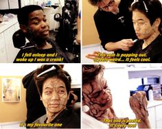 The Scorch Trials cast - The Cranks Make-up<<<I kinda want to see what I'd look like with crank makeup honestly. Maze Runner Funny, Maze Runner Cast, Maze Runner The Scorch, Maze Runner Movie, Maze Runner Series, Teen Wolf Dylan, Dylan O'brien, Thomas Brodie Sangster, Scorch Trials Cast
