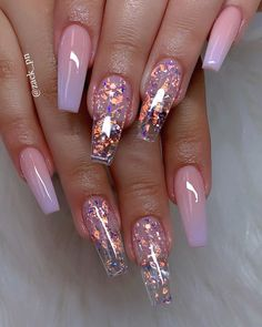 These fabulous nail art designs are super unique and glamorous, these will give you the trendy looks and give your nails a whole new edge to them. These designs below and next page include different shades like glitter pink, clear nails with etc. Cute Summer Nail Designs, Cute Acrylic Nail Designs, Clear Nail Designs, Summer Design, Nail Designs With Glitter, Clear Nails With Design, Exotic Nail Designs, Purple Nail Designs, Different Nail Designs