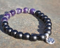 Amethyst Yoga bracelet,black onxy  OM, AUM charm, meditation mala, stretchy gemstone bracelet, February gift by nuttygals on Etsy