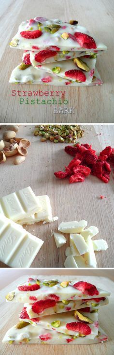Strawberry Pistachio Bark - bright and colorful summer chocolate (also perfect for the holidays) (summer cupcakes) Candy Recipes, Sweet Recipes, Dessert Recipes, Just Desserts, Delicious Desserts, Yummy Food, White Chocolate Bark, Chocolate Bars, Bark Recipe
