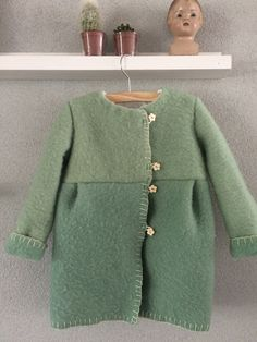 Girls jacket, blanket coat dekenjas made of a vintage green wool blanket, size 104 by MORETHANVINTAGENL on Etsy