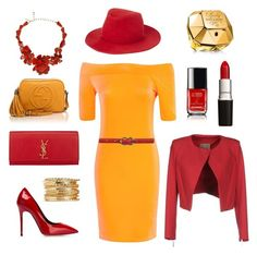 ClassyRed for VFNO by valerre211 on Polyvore featuring polyvore, fashion, style, Boohoo, Betty Blue, Giuseppe Zanotti, Gucci, Yves Saint Laurent, Oscar de la Renta, rag & bone and Paco Rabanne