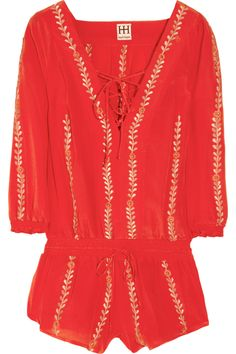 Haute Hippie | Embroidered silk-crepe playsuit | NET-A-PORTER.COM