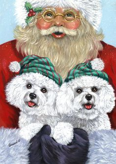 Bichon Frise and Santa by Suzanne Renaud