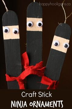 Check out these ADORABLE ninja craft stick ornaments that kids can make for the Christmas tree! They're super-easy and they're so darn cute! adorable!